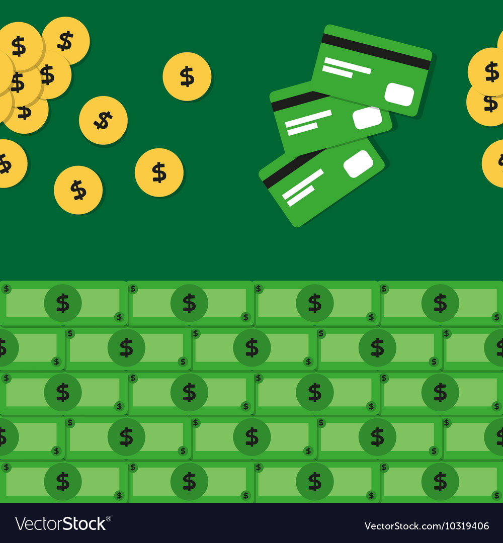 Seamless pattern with money and credit cards