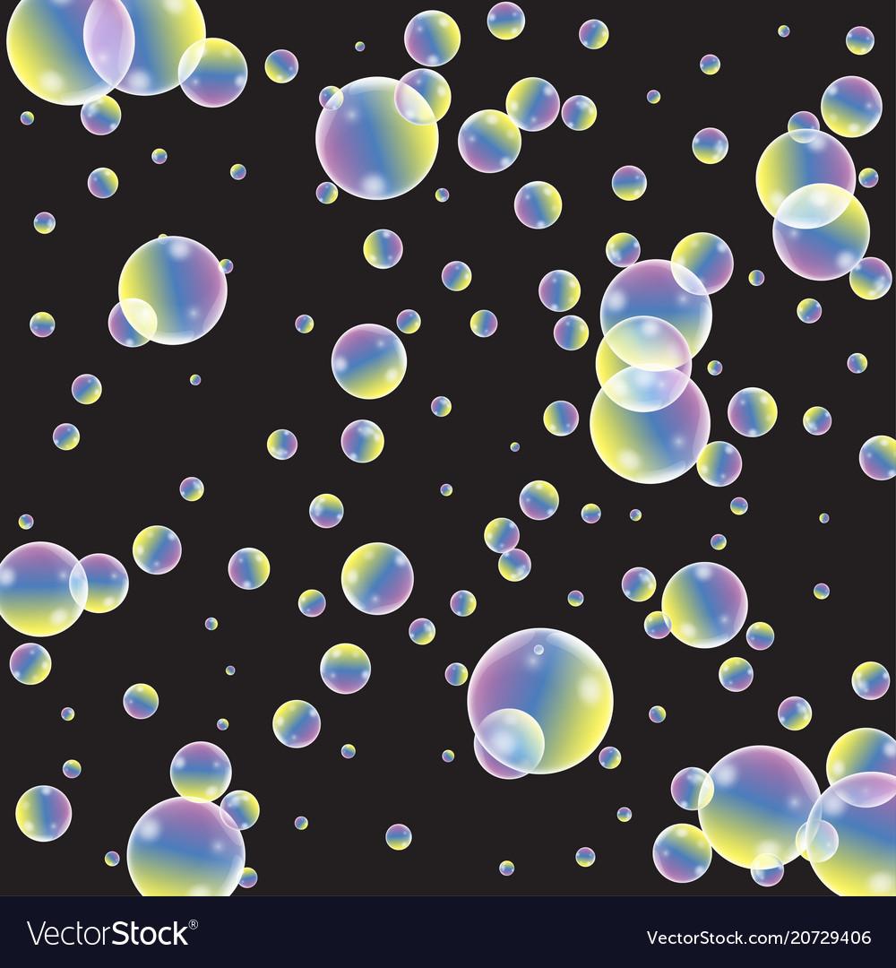 Set of realistic transparent colorful soap bubbles