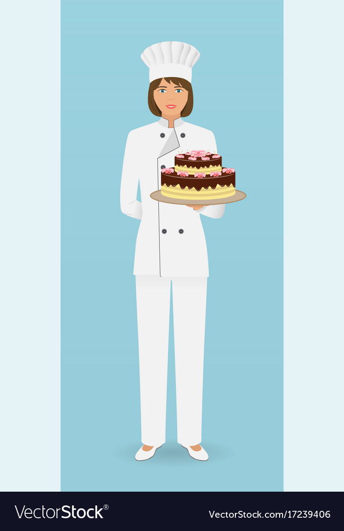 Woman confectioner character standing in uniform vector image