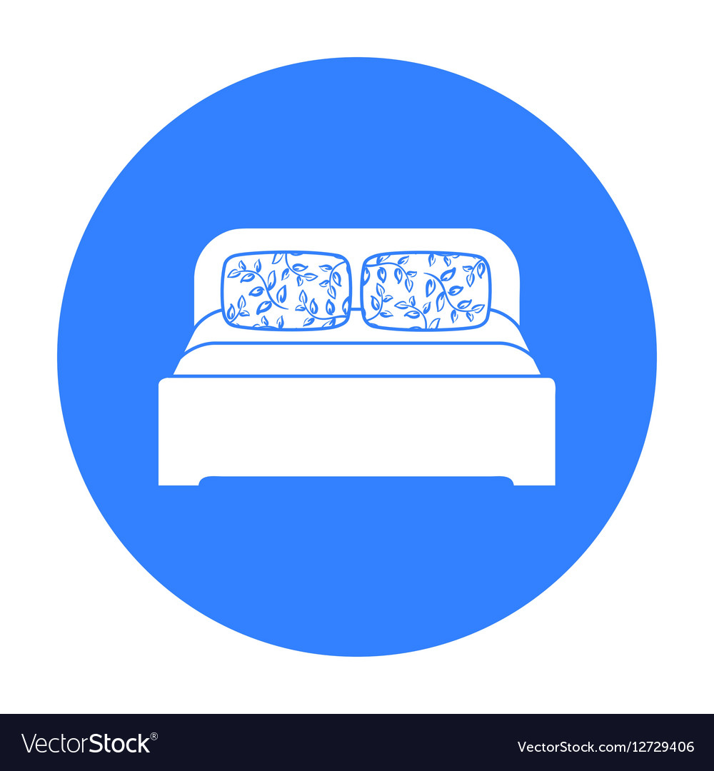 Wooden double bed icon in black style isolated on