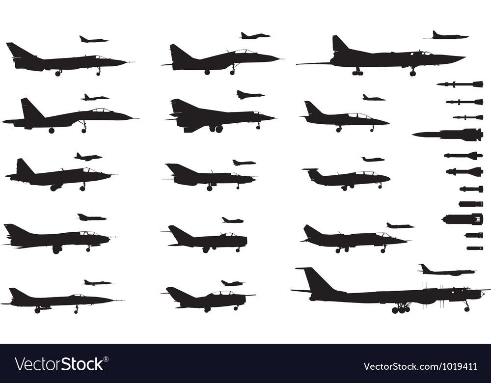 Aircrafts set vector image