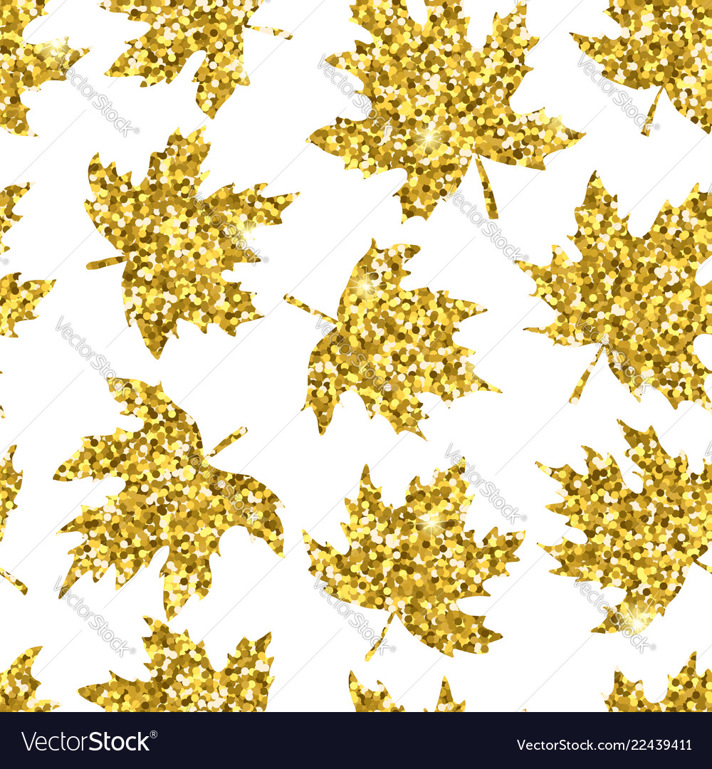 Beautiful seamless pattern golden maple leaves on