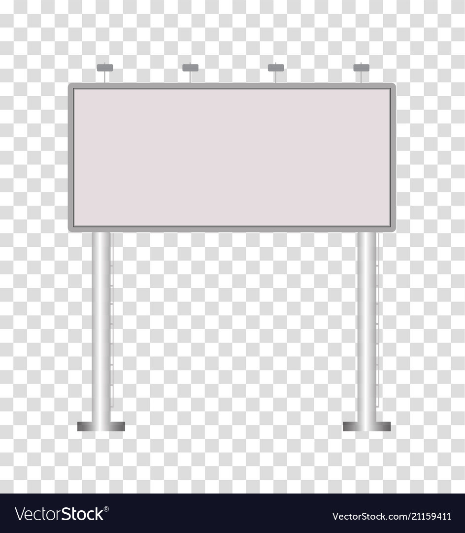 Blank big billboard on transparent background
