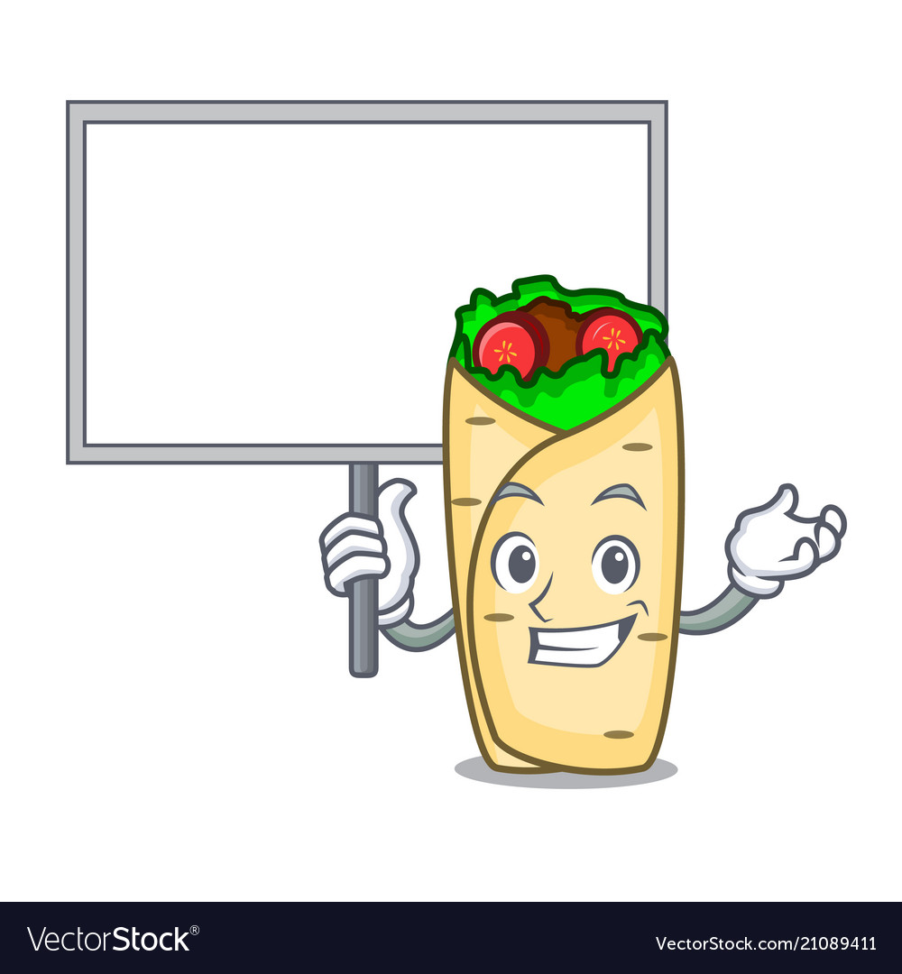 Bring board burrito character cartoon style vector image