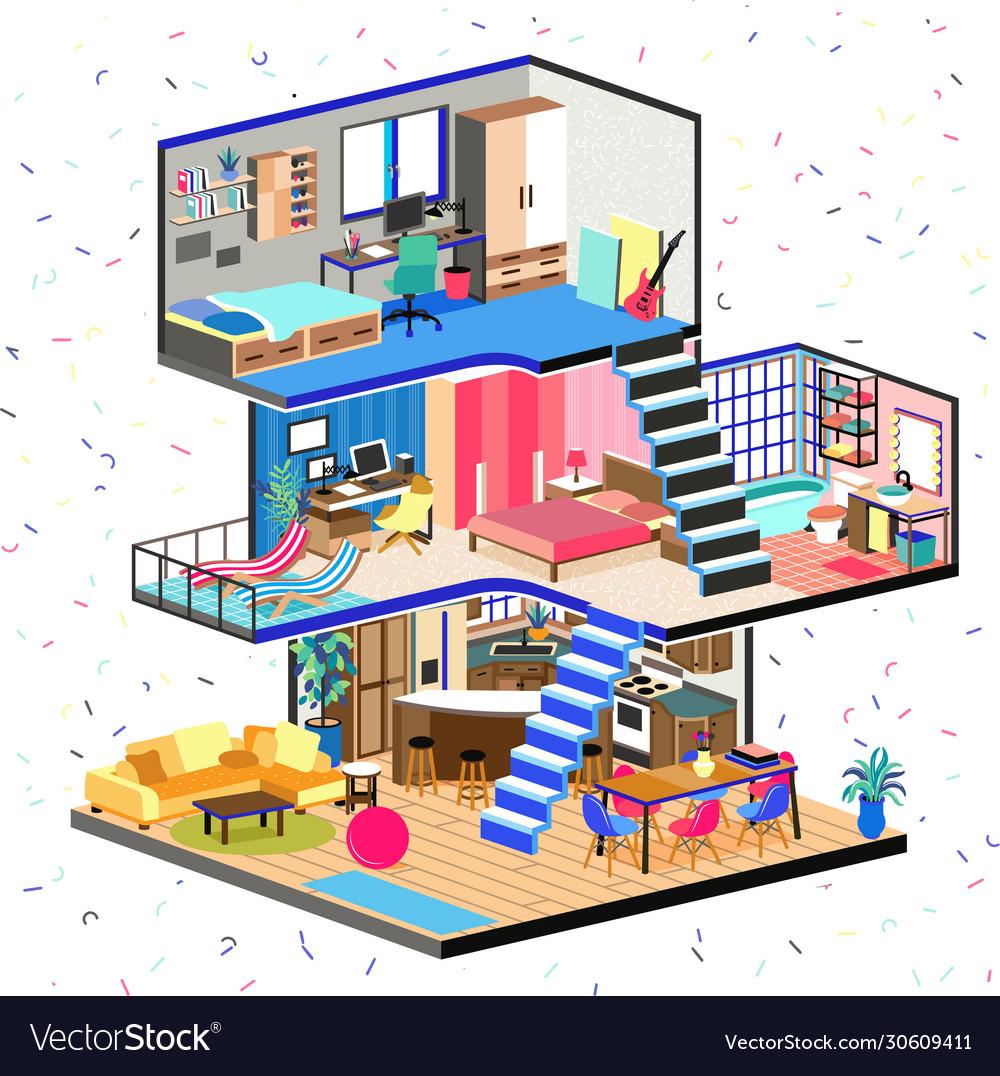 Cartoon family house in cut detailed modern
