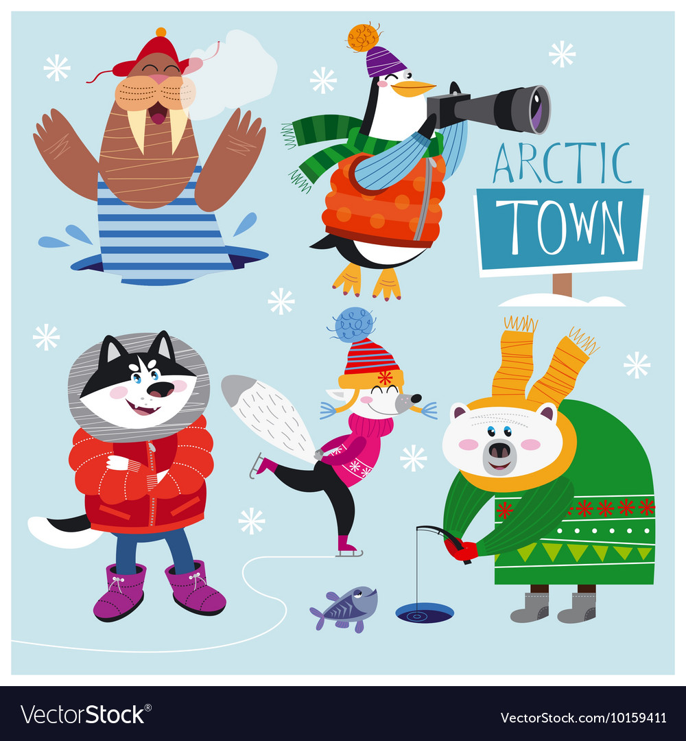 Cute set of Arctic Animals