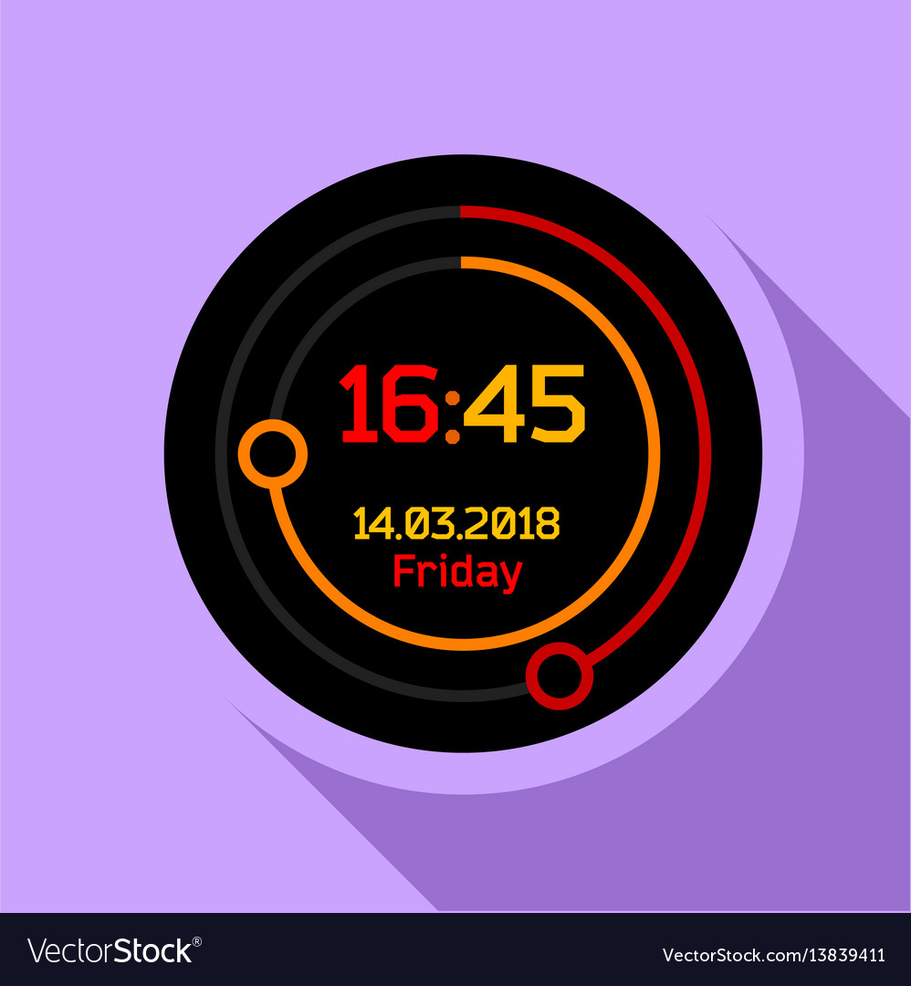 Digital countdown timer icon flat style vector image