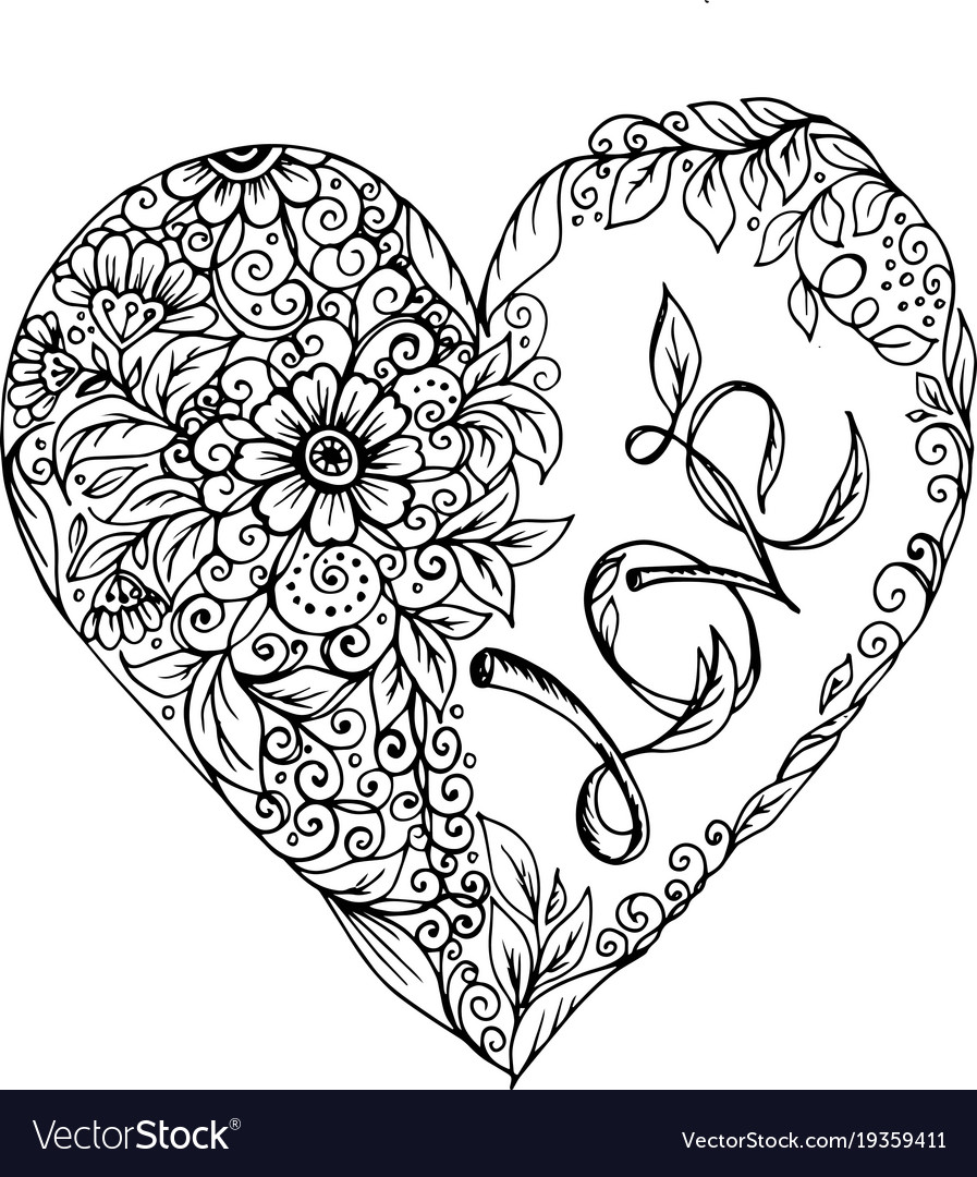 Doodle Heart With Pattern Of Flowers Vector Image