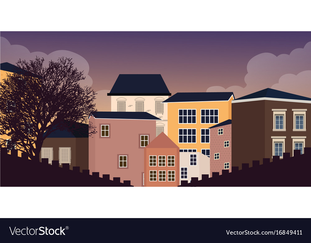 Europe style home residential in village town vector image