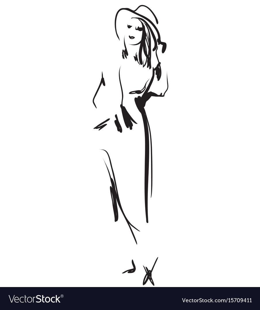 Fashion models sketch hand drawn cartoon girl in vector image