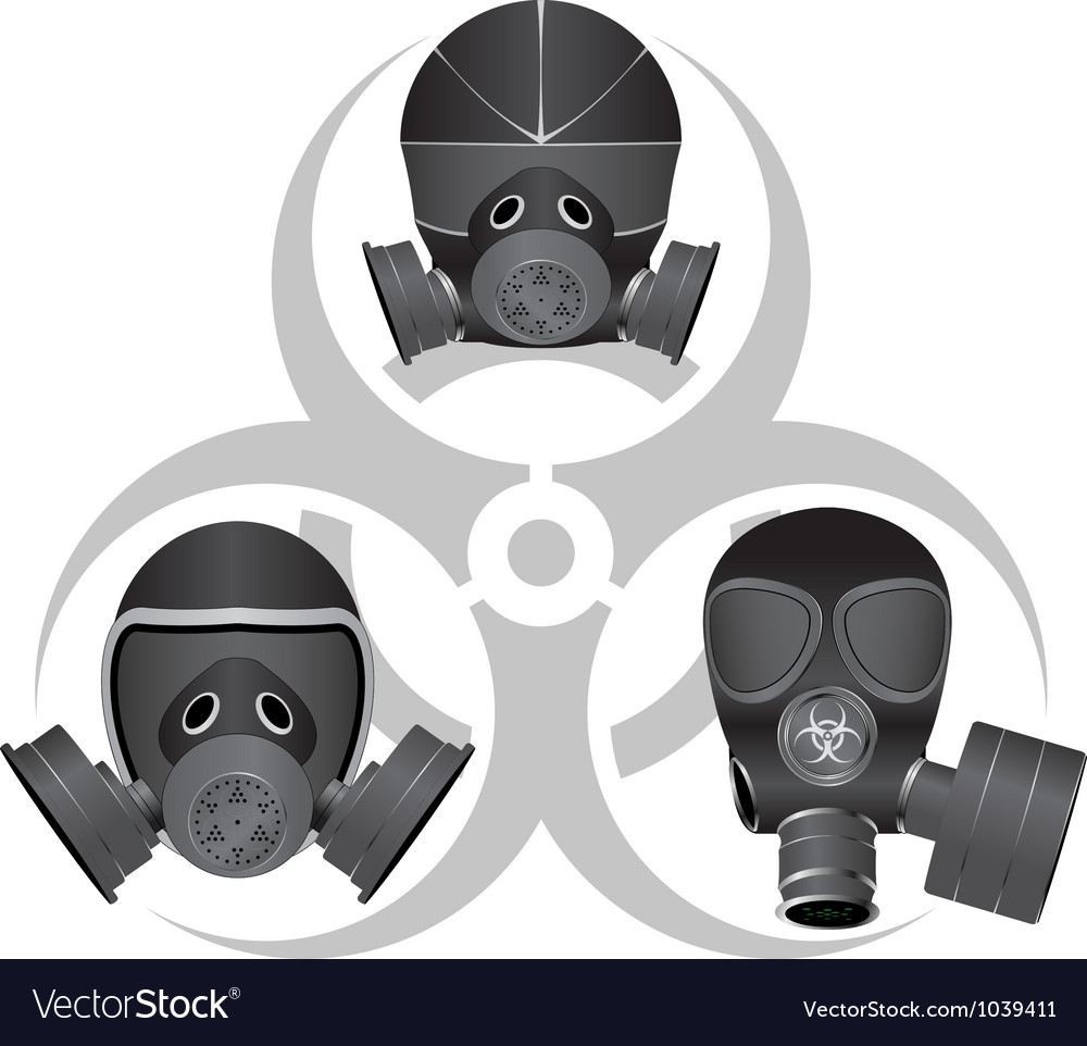 Gas masks and biohazard sign vector image