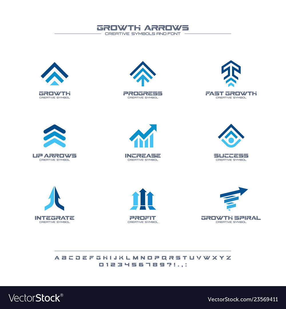 Growth arrows creative symbols set font concept
