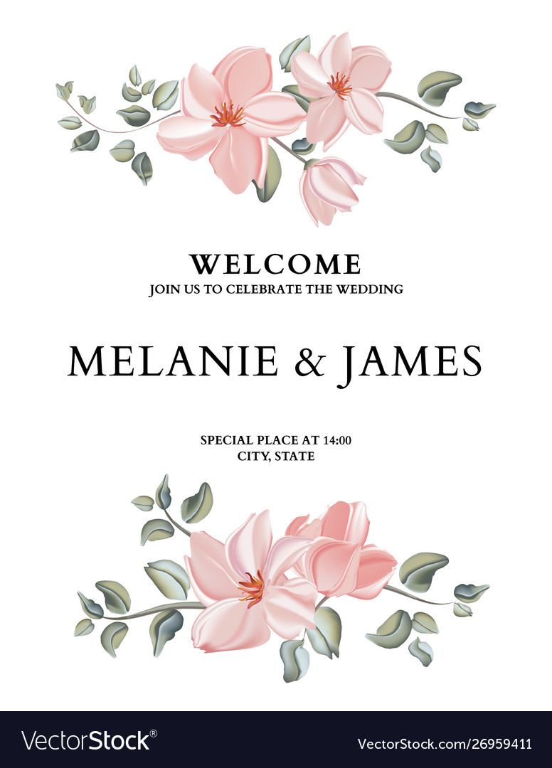 Hand-drawn card with flower rose leaves wedding