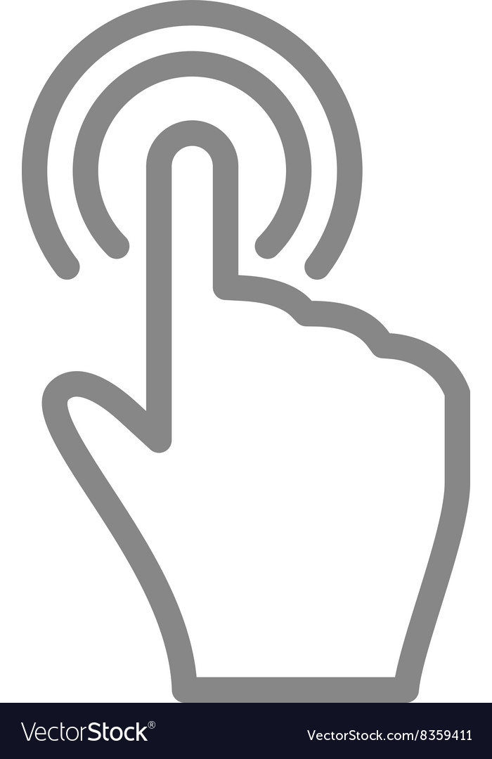 Hand touch and tap gesture line art icon for apps