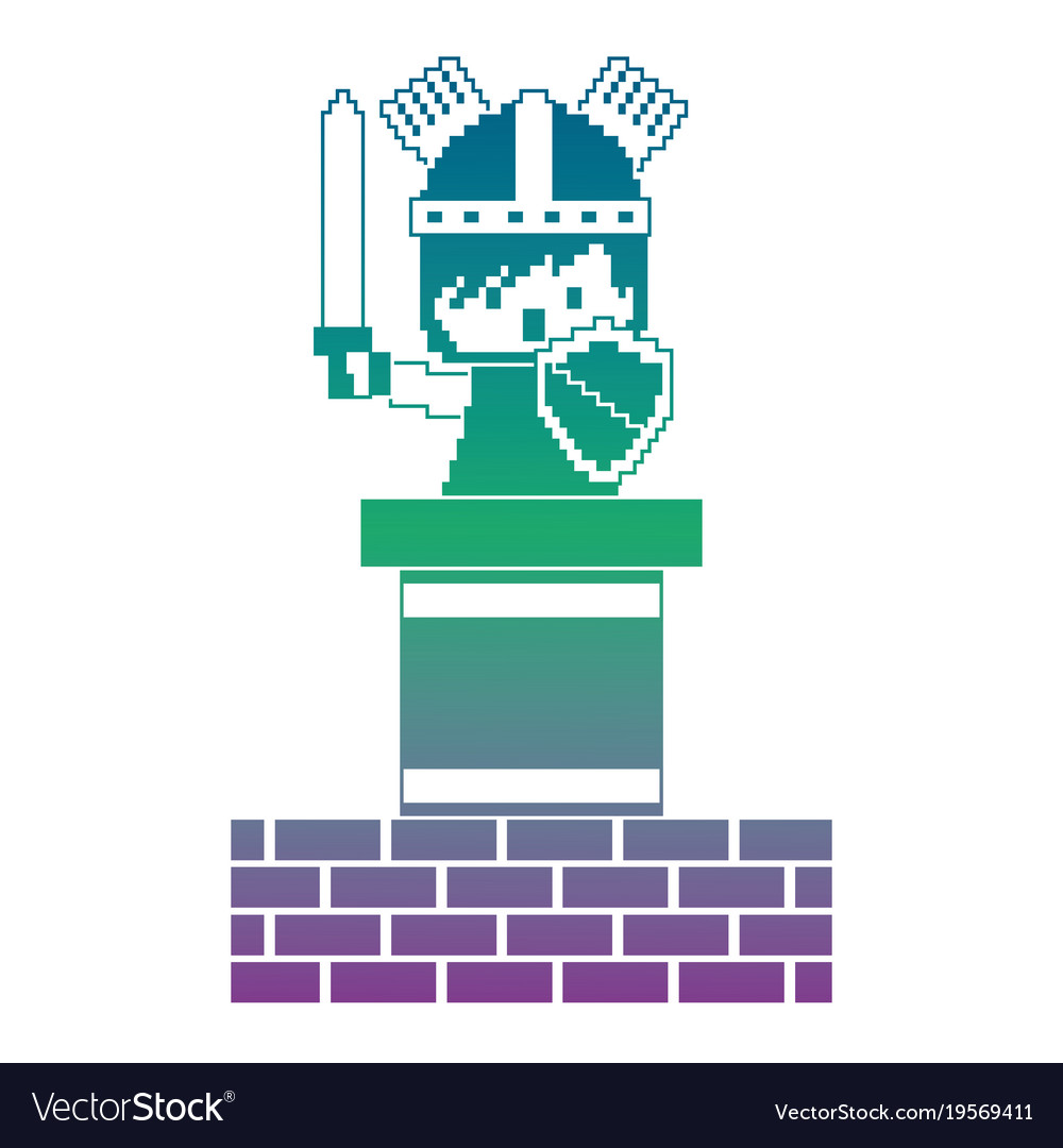 Pixel character knight game wall brick Royalty Free Vector
