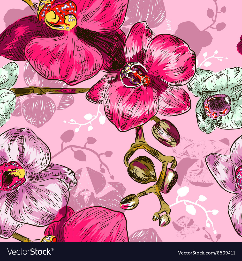 Seamless Pink Orchid Flower Pattern Royalty Free Vector