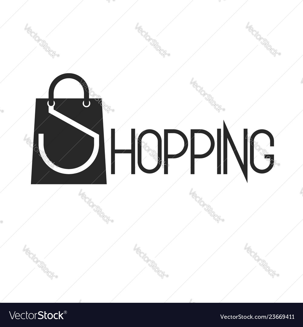 Shopping bag and lettering word shopping promotion