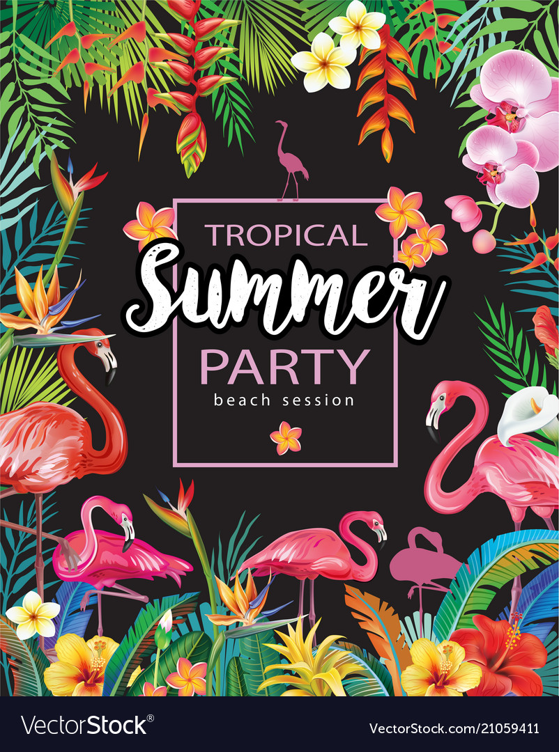 Summer party poster with flamingoes and tropical