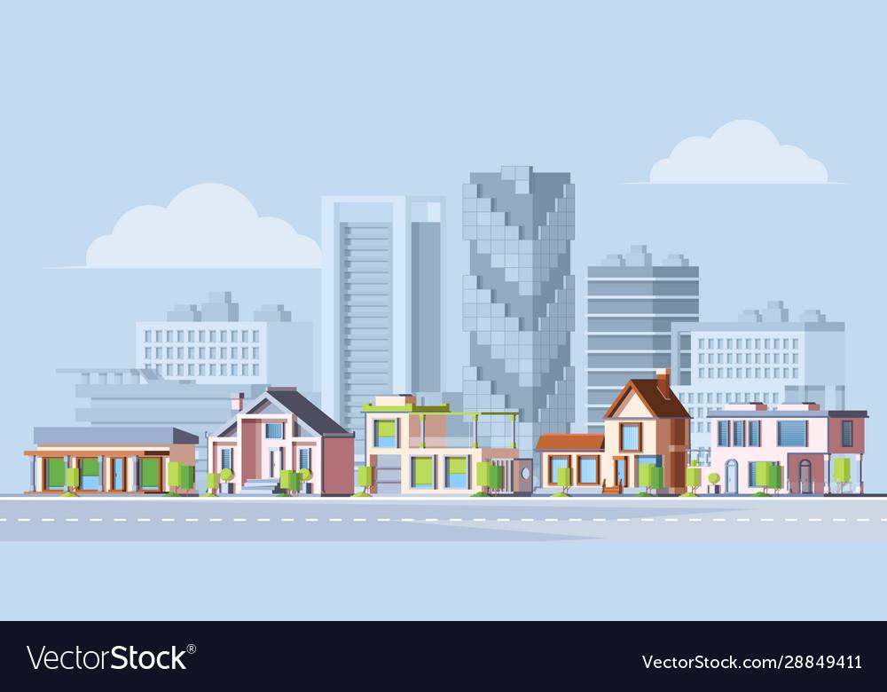 Urban city landscape colorful flat