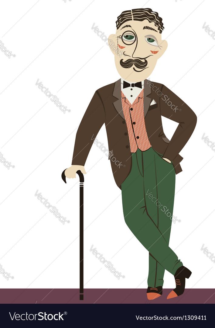 Vintage gentleman with cane