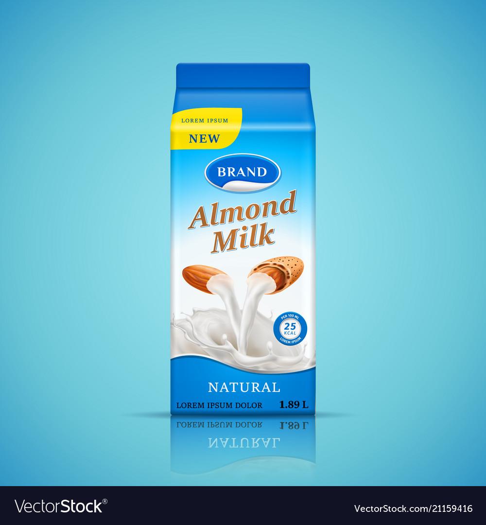 Almond milk packaging design liquid pours down