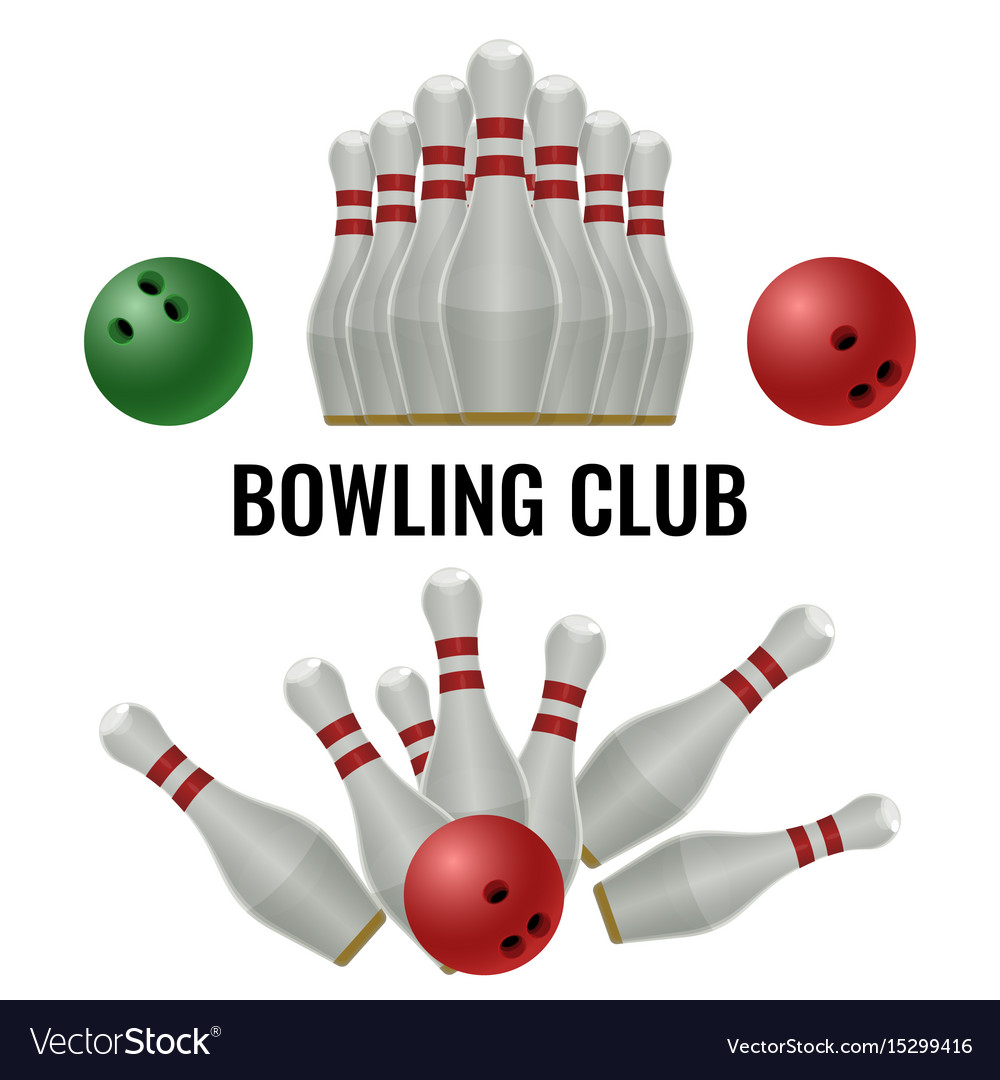 Bowling club logo design of equipment for play