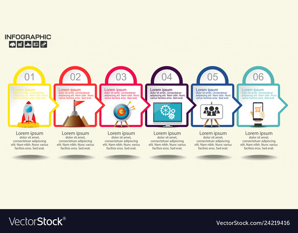 Business infographics step by step timeline with
