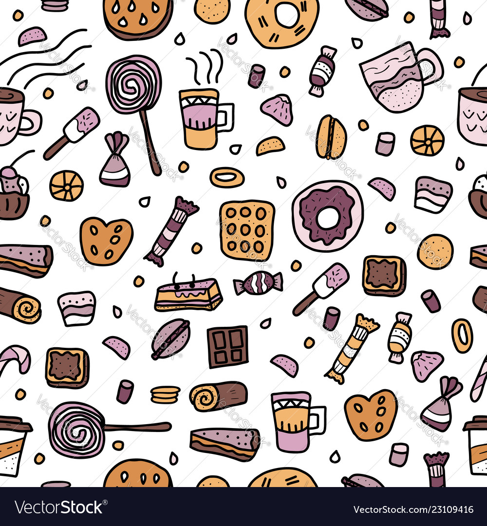 Dessert set elements in doodle style