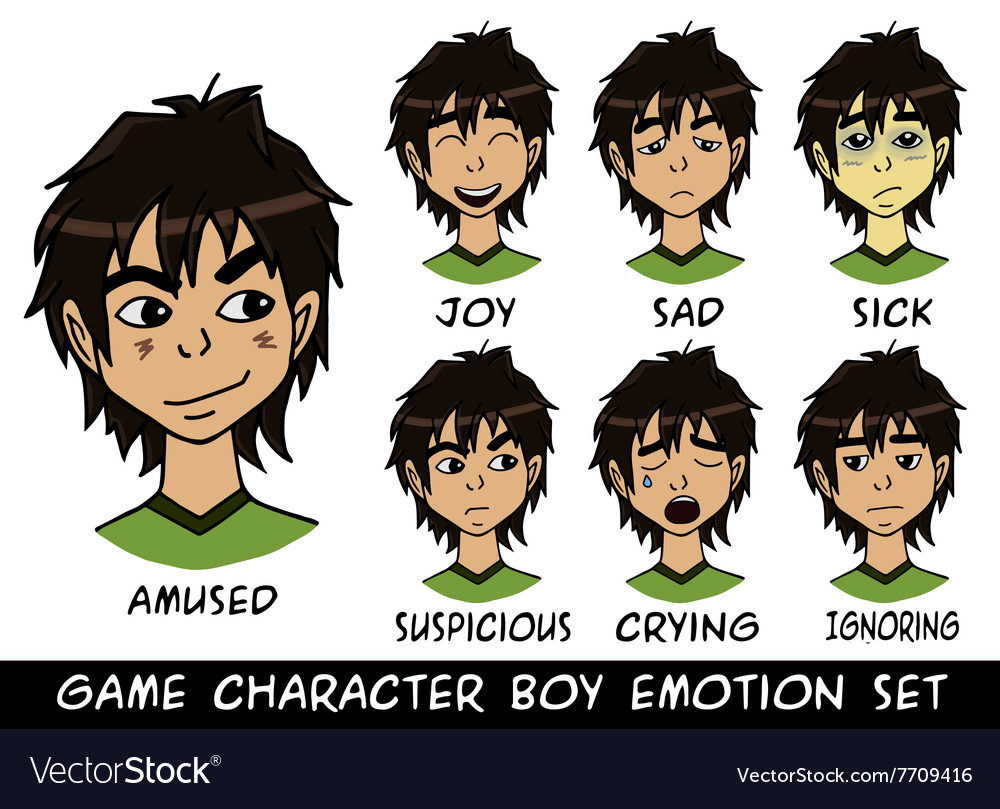 Game character boy emotions set