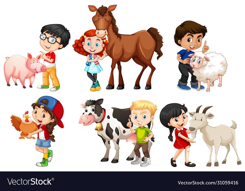 Happy children with farm animals on white