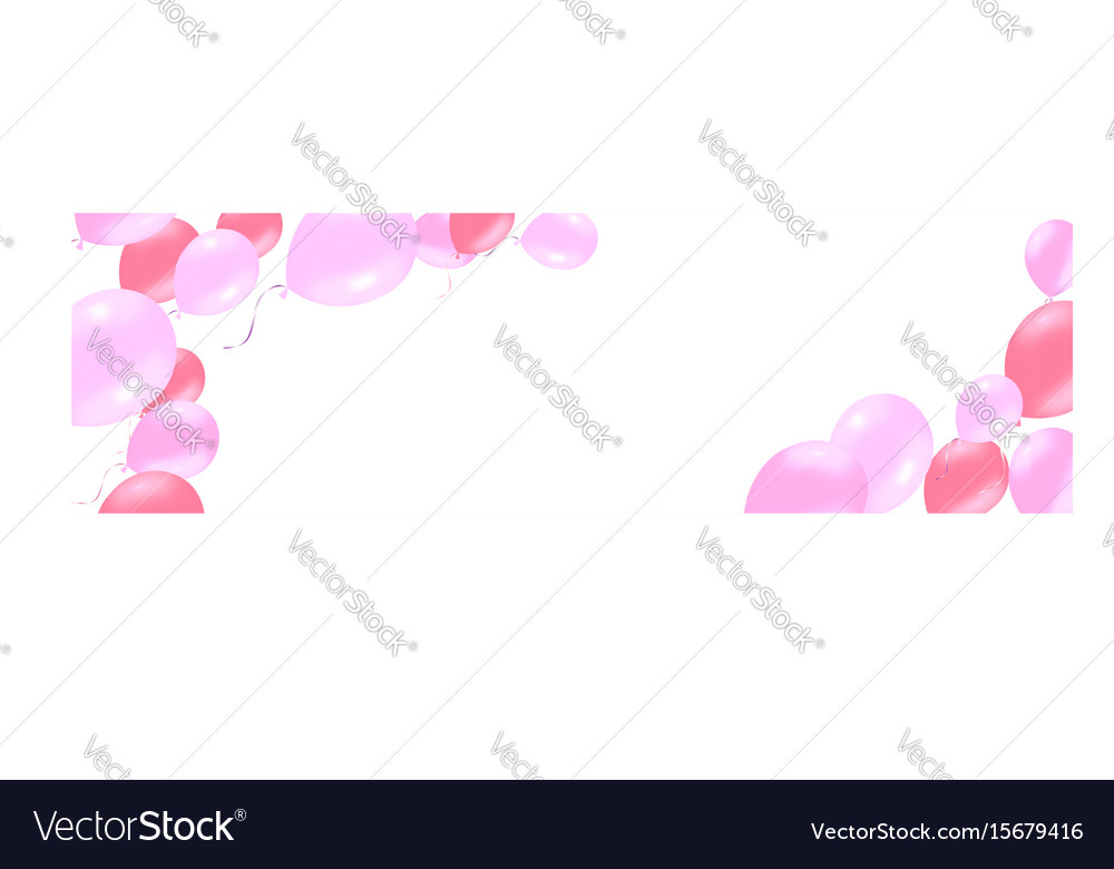 Horizontal banner with pink rose helium balloons