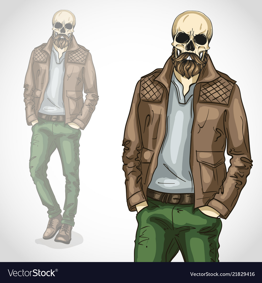 Man with skull and beard and moustaches