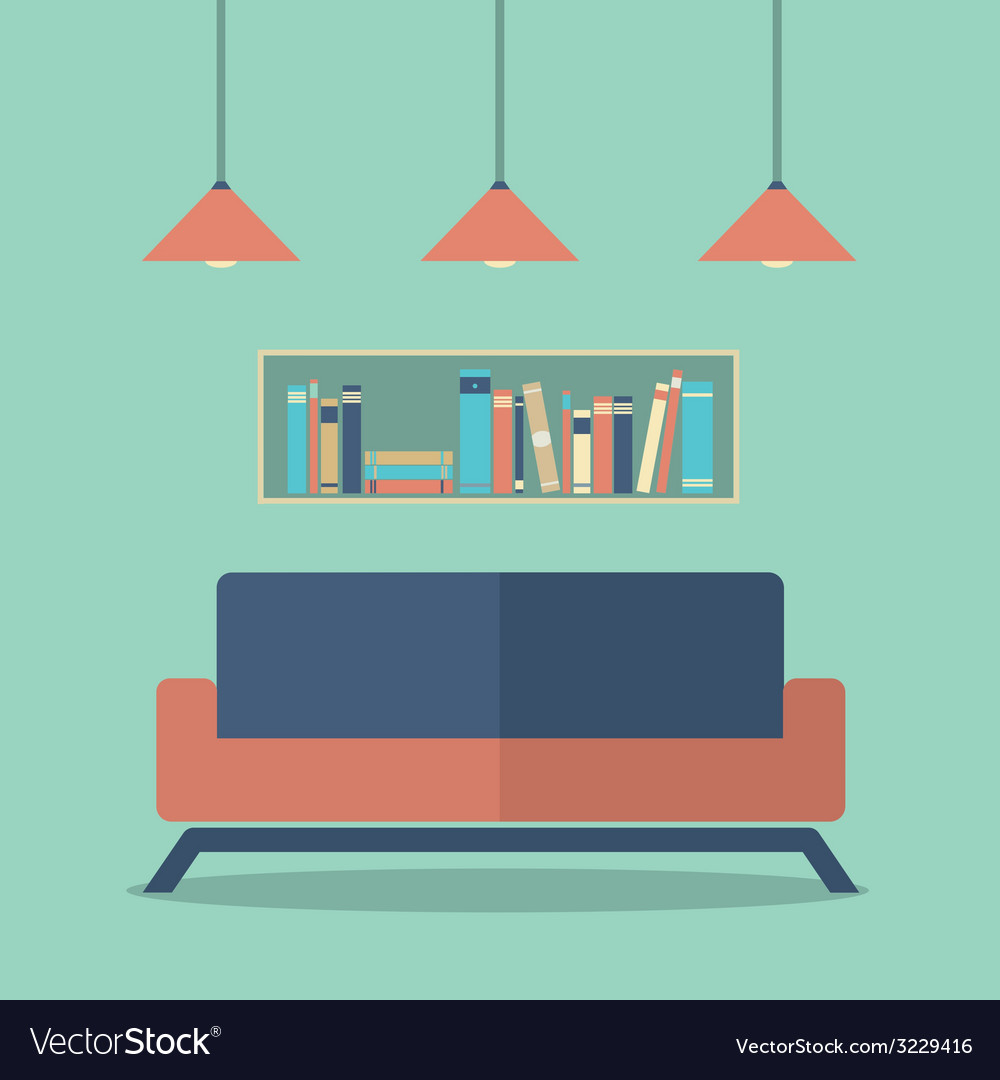 Modern Design Interior Sofa And Bookshelves