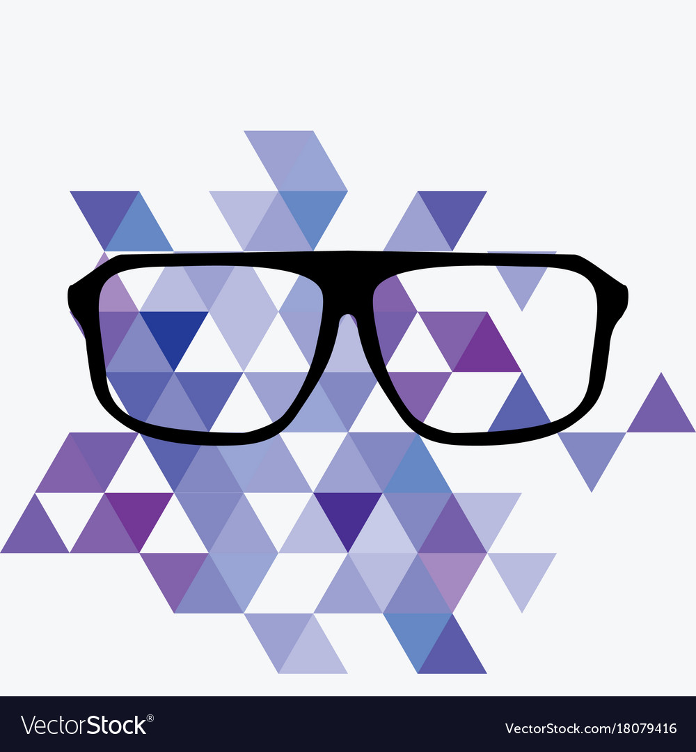 Nerd glasses on grey background with triangle flat