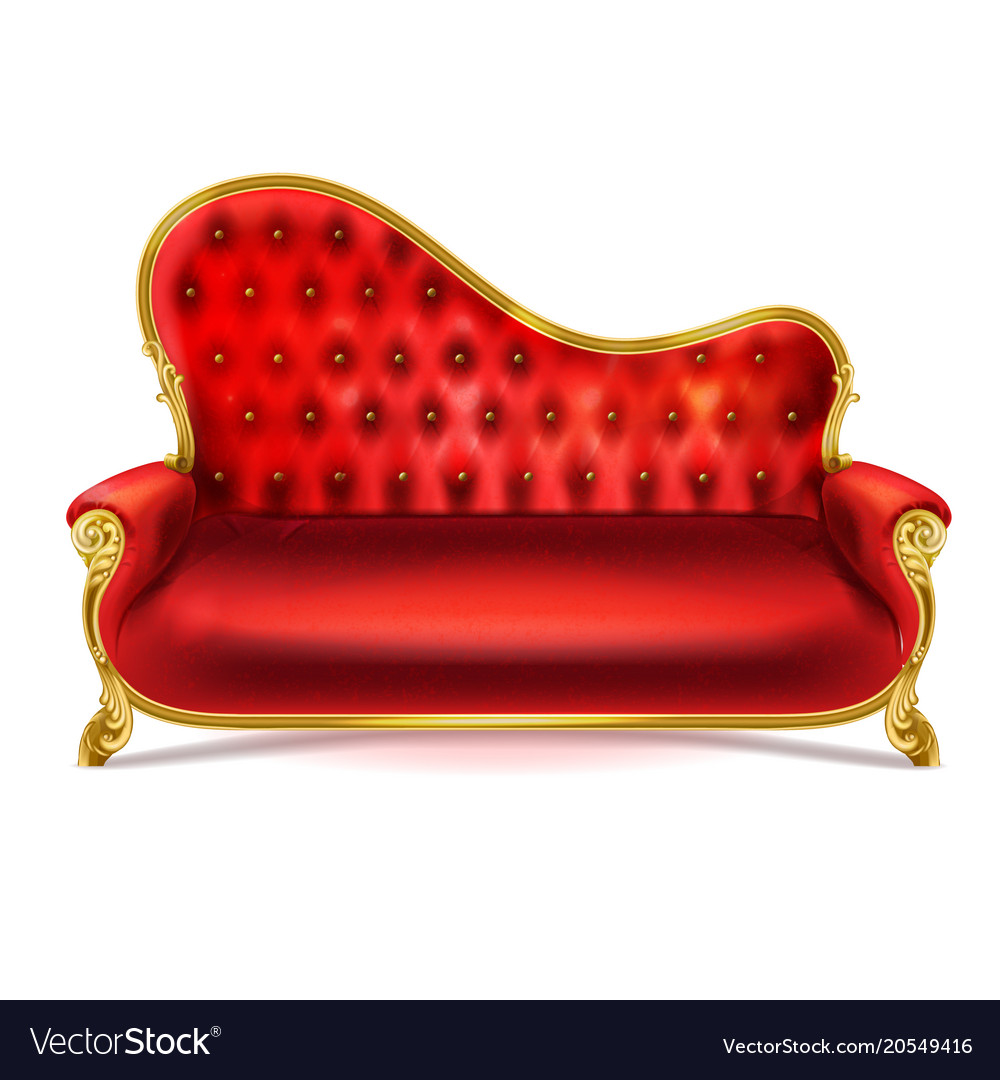 - Realistic Luxurious Red Leather Sofa Couch Vector Image