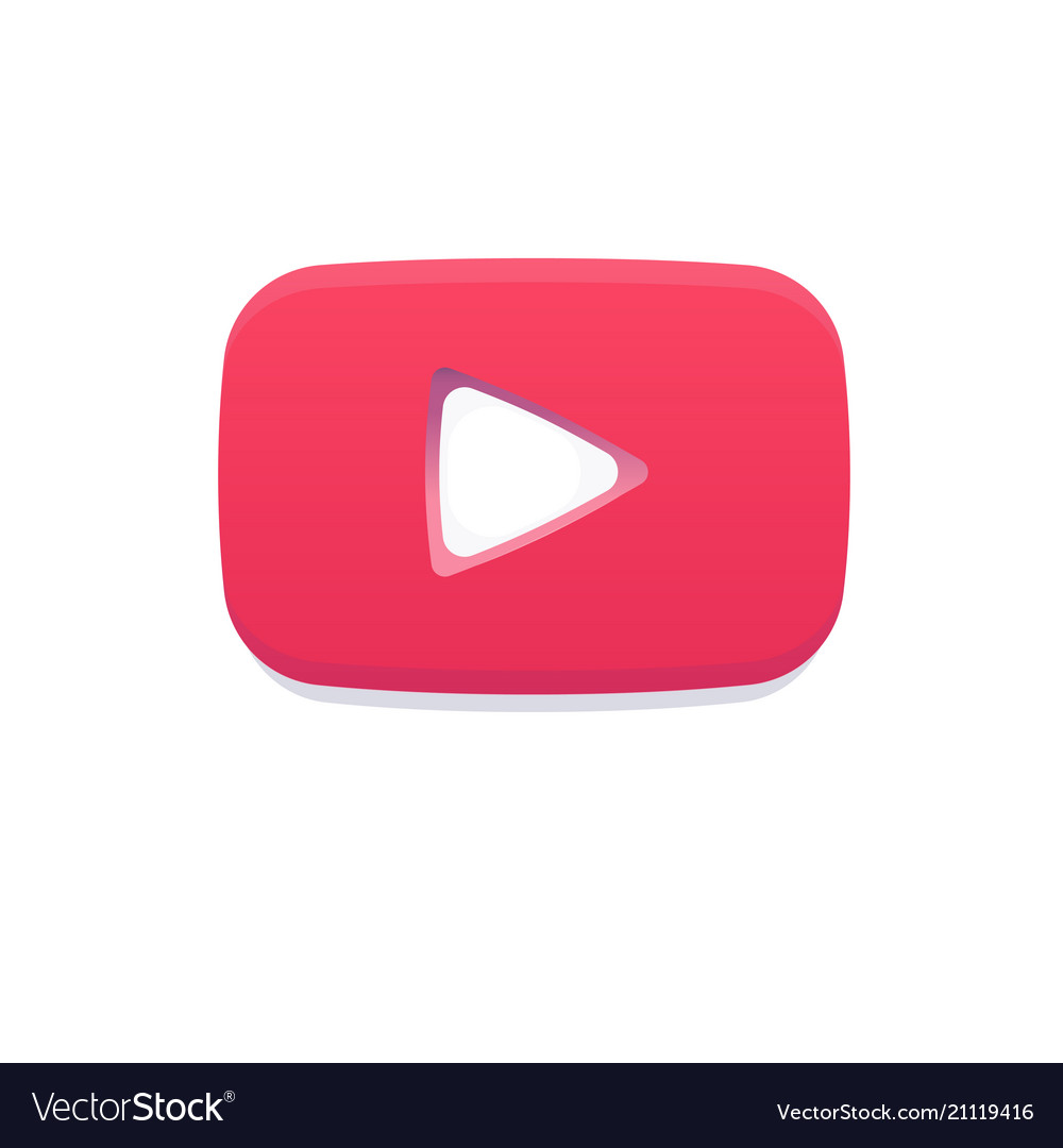 Red Play Flat Logo Youtube Notification Icon Like Vector Image