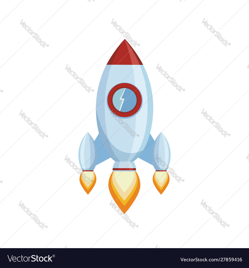 Rocket launch spaceship isolated on a white