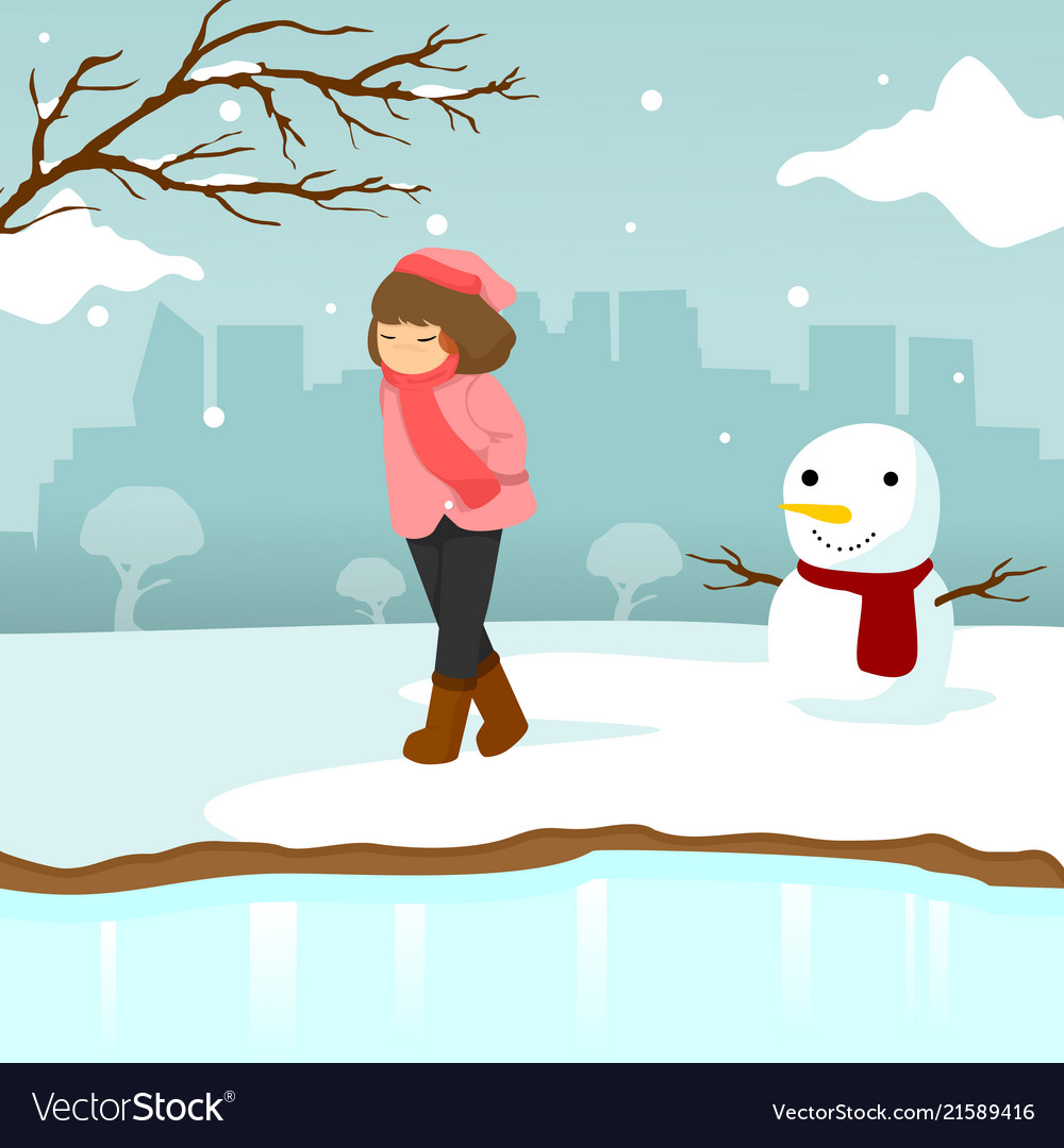 Sad Lonely Girl Winter Season Scene Graphic Design-9781