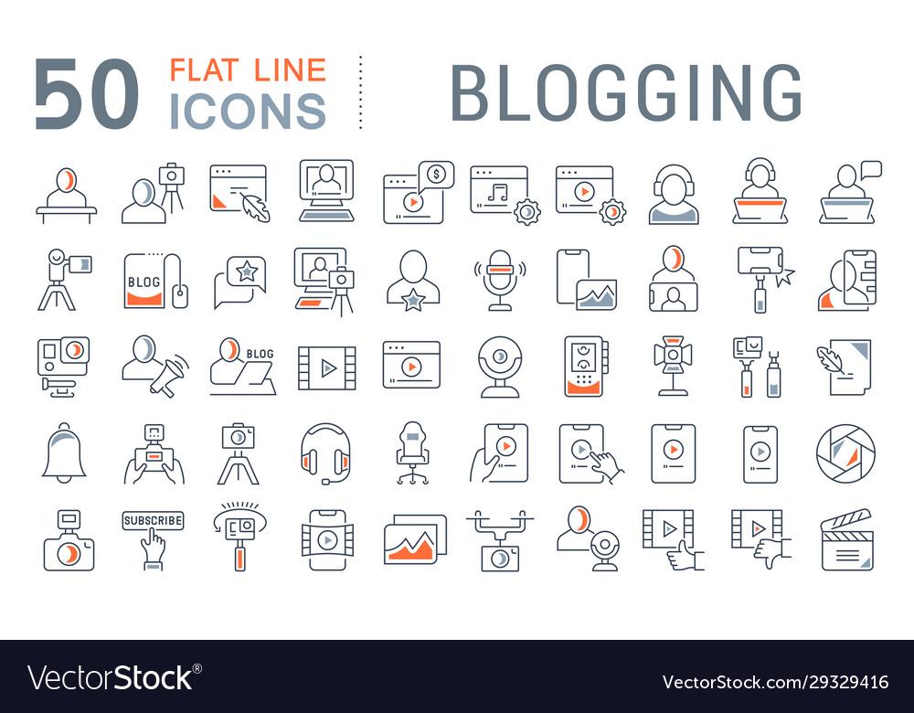 Set line icons blogging