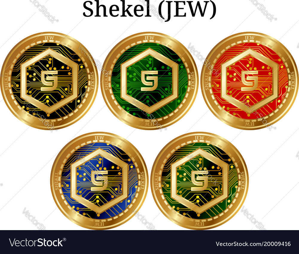 Set Of Physical Golden Coin Shekel Jew Royalty Free Vector