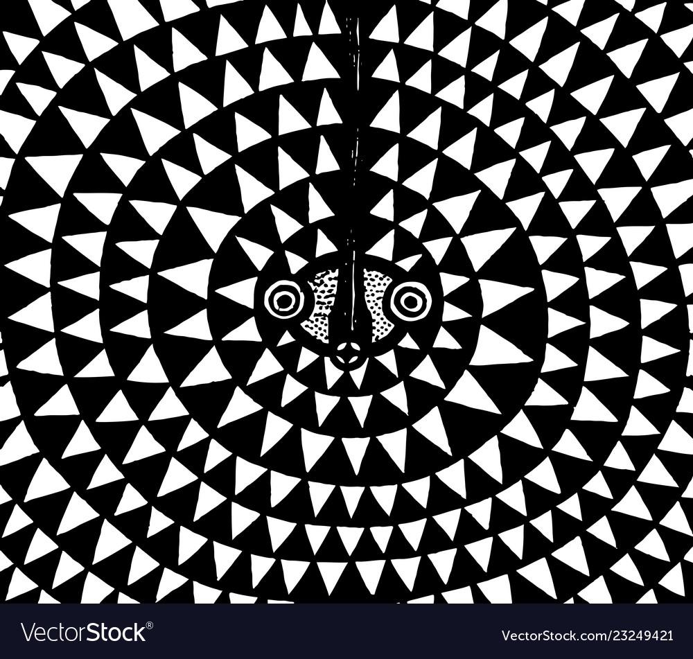 African moon mask tribal ancient art ink artwork vector image