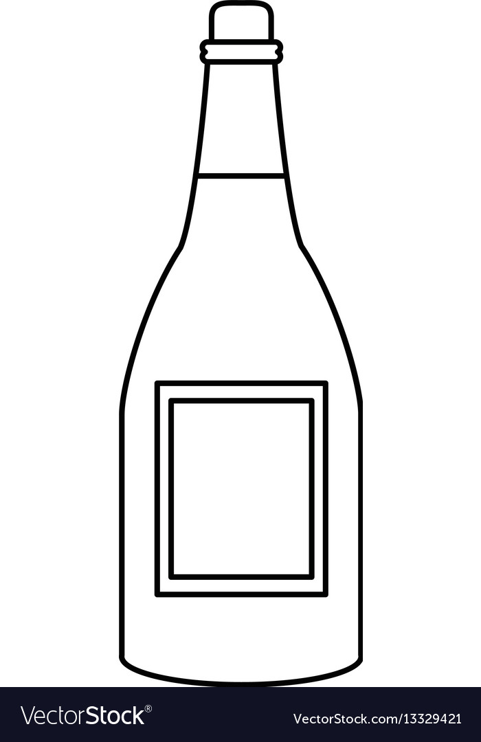 Bottle wine alcohol drink thin line vector image