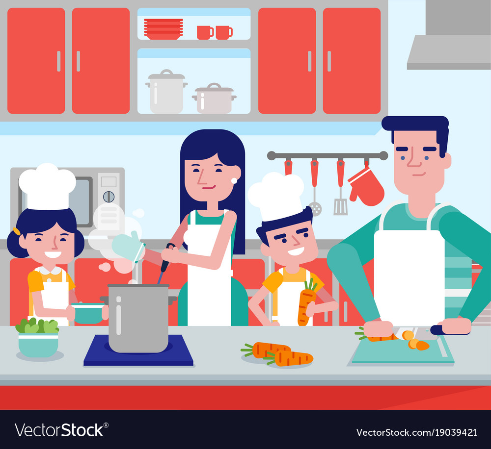 Caucasian parents with their kids cooking together