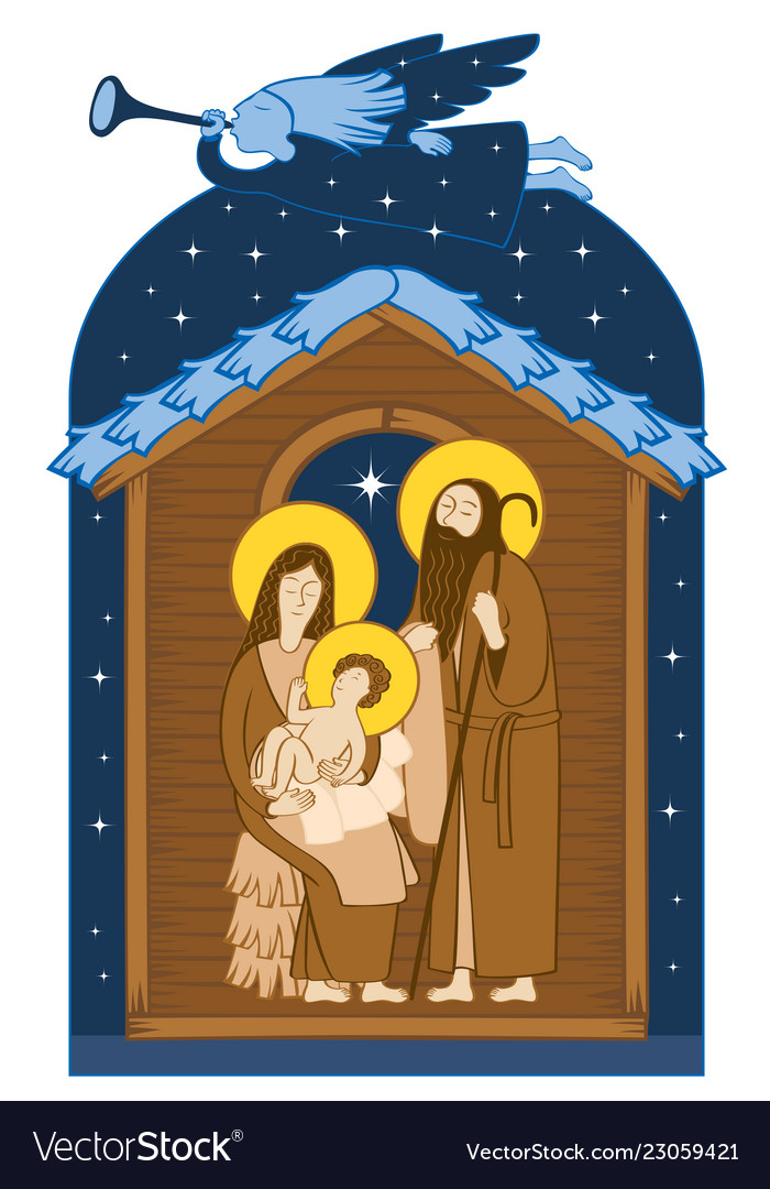 Christmas nativity scene holy family and angel