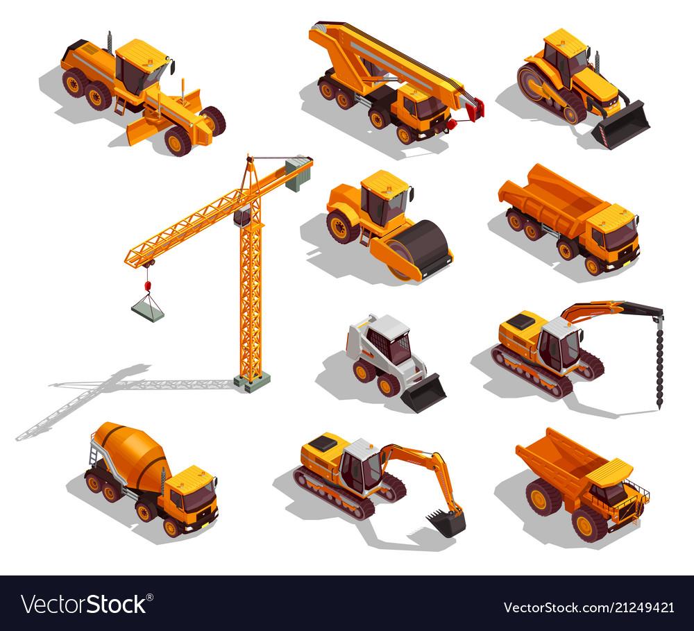 Construction machinery isometric icons