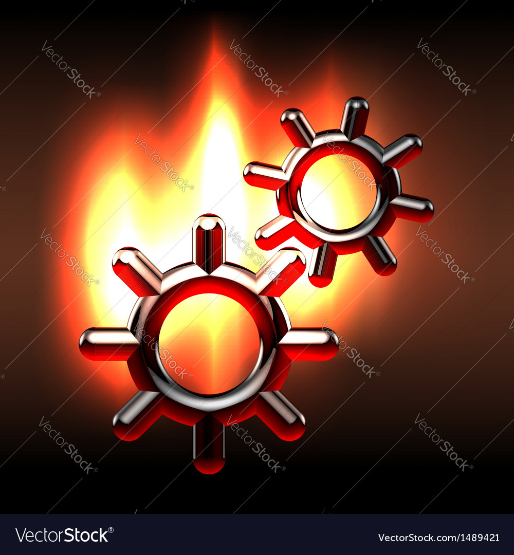 Couple rotating gears in flames vector image