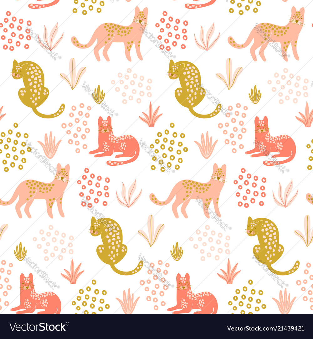 Cute seamless pattern with leopards tropical