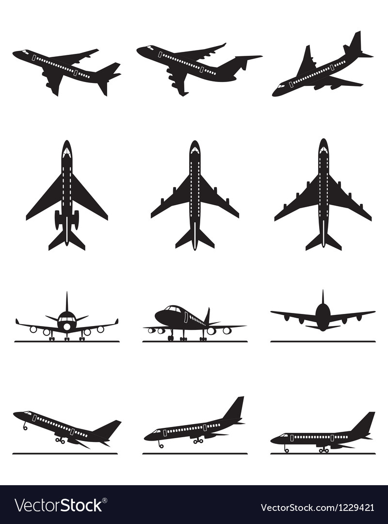 Different passenger aircrafts in flight