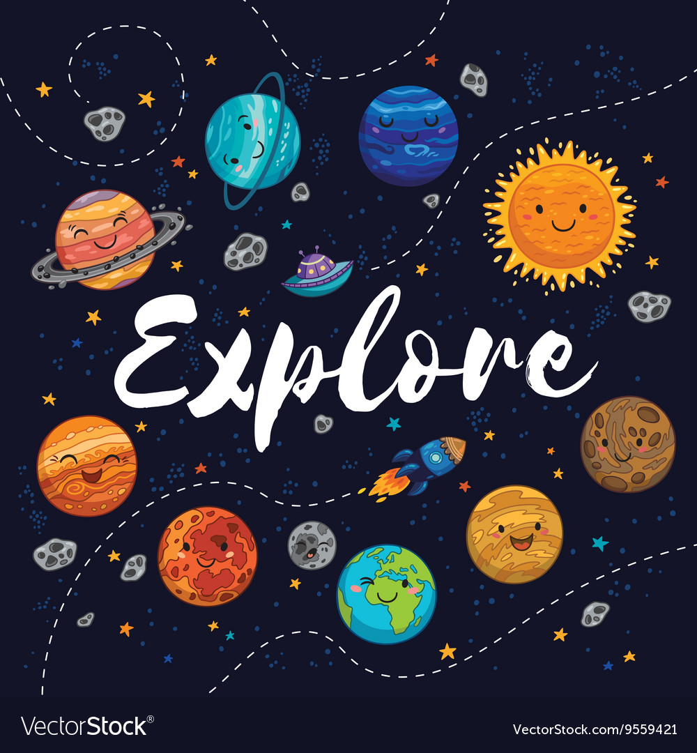 Explore Fantastic childish background in bright vector image