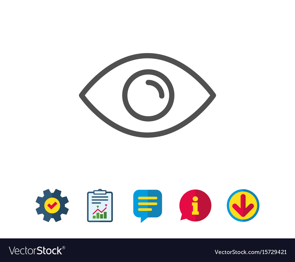 Eye line icon look or optical vision sign